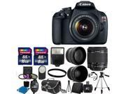 Canon EOS Rebel T5 1200D SLR Camera + 3 Lens 18-55 IS +24GB KIT Flash & More Brand New