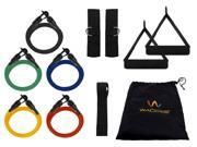 Wacces - 11 Piece Set of 5 Resistance Bands for Abs, Yoga, Strengh Exercises