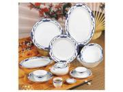 Blue Lotus 10 1/4 inch Blue/White Oval Platter 24 Ct