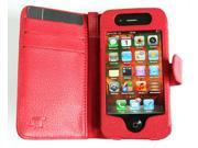 JNTworld RED Card Holder Wallet Leather Case Cover+strap for Apple Iphone 4 4g 4s