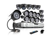 ZMODO 600TVL Surveillance Home Security Camera System 16CH H.264 DVR 8 Dome 8 Bullet 600TVL Cameras No Hard Drive