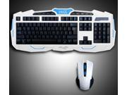 CORN Multimedia Wireless Gaming Keyboard and Mouse Combo With USB RF 2.4GHz, Anti-Ghosting Feature & Water-Proof Design - Black & White (Upgraded Version)