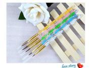 5 pcs 2-Ways Acrylic Nail Art Pen Brush Cuticle Pusher 18cm Professional