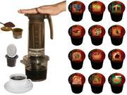 Cafejo My French Press K-Cup Brewer (With K-Cup, Ground Coffee & Pod Adaptors) plus 12 Count Variety Box of Cafejo K-Cups