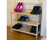 Lavish Home  83-10-3  Three-Tier Blonde Wood Storage Shoe Rack