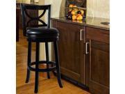 Lavish Home Swivel Wood Stool with Back - Black