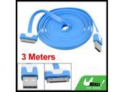 9.8ft Blue 0.6cm Wide USB Data Cable for Apple iPhone 4S 4GS iPad 2