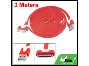 Red 3 Meters 0.6cm Wide USB Data Cable for Apple iPhone 4S 4GS iPad 2