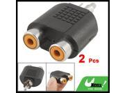 Audio Video Cable Connector 1 Male to 2 Female RCA Splitter Black 2 Pcs