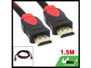1.4 Version Red Black 19 Pin Male to Male HDMI Extension Cable 1.5M