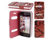 Black Red Snake Pattern PU Leather Magnetic Closure Phone Case for iPhone 4 4th