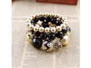 Bijoux women designer jewelry vintage gold black flower hollow out bead stretch bracelets jewelry sets