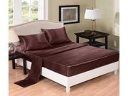 Honeymoon Soft Solid Satin 4Pcs Bedding Sheet Set, Full Size - Chocolate