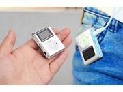 Mini Clip MP3 Music Player LCD Screen Support 2-16GB TF Card Slot --silver
