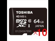 Wholesale 10x Toshiba 64GB microSD 64G microSDHC micro SD SDHC/SDXC  Card Class 10 UHS-I 40MB/s with mini M2 card reader