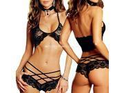 M7F Black Sexy Women's Babydoll Sleepwear Nightwear Lingerie Lace Bra Underwear