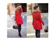 M4A Womens Lady Winter Coat Double Breasted Fur Collar Warm Silm Down Jacket