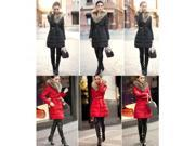 M6C Womens Lady Winter Coat Double Breasted Fur Collar Warm Silm Down Jacket