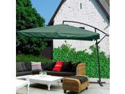 Green 9 Ft Offset Umbrella for Outdoors with Aluminum Pole