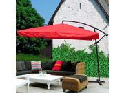 Red 9 Ft Offset Umbrella for Outdoors with Aluminum Pole