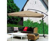 Tan 9 Ft Offset Umbrella for Outdoors with Aluminum Pole
