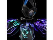 SADES Leiteng S1 2400DPI Multi-Color 4 Buttons Wired Gaming+Sades SA-709 7.1 Sound Gaming Deep Bass Headset Headphone  with Mic