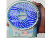 """Glovion 4""""inch Portable&rechargeable &Handheld 3 Level Wind Speed Adjustment Super Cooling Mini Fan for Indoor &Outdoor Use with Ac Adapter (Green)"""