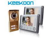 """KeeKoon Night Vision 7"""" Color TFT LCD without Radiation Video Door Phone for Neighbors 2 Families Apartments Cheap Set 2 Indoor Monitor 1 Outdoor Camera"""