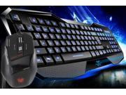 RED BLUE LED Backlit Backlight Illuminated Multimedia Ergonomic Game Gaming Keyboard+Laptop PC 7 Buttons 2000 DPI Adjustable USB Wired Optical Mouse Mice