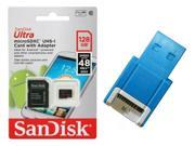 SanDisk 128GB 128G microSDXC Ultra 48MB/s microSD micro SD SDXC Class 10 UHS-I C10 Memory Card SDSDQUAN-128G with OEM USB 2.0 Card Reader