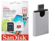 SanDisk 32GB 32G microSDHC Ultra 48MB/s microSD micro SD SDHC Class 10 UHS-I C10 Memory Card SDSDQUAN-032G with USB 3.0 Card Reader
