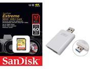 SanDisk 32GB 32G SDHC Extreme 60MB/s UHS Class 3 U3 SD 400X Class 10 C10 Memory 4K Card SDSDXN-032G with USB 3.0 Card Reader