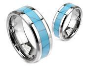 Turquoise Inlay Tungsten Carbide Wedding Band Ring 8MM - Size 14