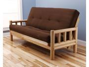 Lodge Futon Frame in Natural Wood with Suede Innerspring Mattress