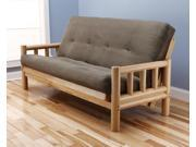Lodge Futon Frame in Natural Wood with Suede Olive Innerspring Mattress