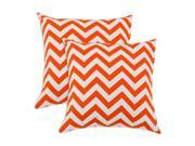 Breezy Chevron Tangerine Indoor-Outdoor Accent 17 inch Throw Pillows (set of 2)