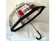 Hooked Handle London Big Ben Pattern Dome Umbrella Rain Gear Clear Red Gray