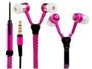 3.5mm Plug Stereo In-Ear Earphone / Headphone with Microphone & 1.1M Zipper Design Cable (Pink)