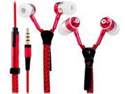 3.5mm Plug Stereo In-Ear Earphone / Headphone with Microphone & 1.1M Zipper Design Cable (Red)