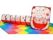 Rectangle Polka Dot Play Tent & Tunnel with SAFETY Meshing Child Visibility- Free Mystery Gift