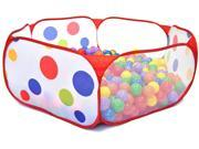 "Polka Dot Hexagon Play Pen w/ 200 ""Phthalates Free"" 6.5cm Play Balls"