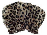 Hydrea London Eco-Friendly PEVA Shower Cap SC01L Leopard Print Design