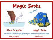 Magic Socks Fun For Adults & Children Blue Smiley Design Expands In Water