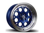 15X8 AVID.1 WHEELS AV-16 4X100/114.3 +25 BLUE RIM FITS ACURA INTEGRA HONDA CIVIC