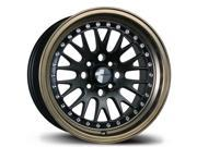 16X9 AVID.1 WHEELS AV-12 4X100/114.3 +15 BLACK BRONZE LIP RIM FITS VW JETTA GOLF