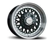 16X8 AVID.1 WHEELS AV-05 4X100/114.3 +15 BLACK RIM FITS HONDA CIVIC ACCORD CRX