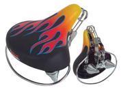 Vinyl Web Spring Beach Cruiser Bike Saddle, 10-3/8in L x 9-3/8in W, Black w/Flames