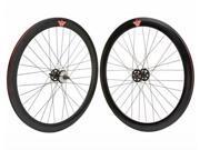 Stars Circle Mfg 700c Alloy Bike Wheel Set, 14G x 51mm Deep V, 32 Spoke, Sealed Bearing, Black