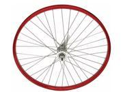 26in x 2.125in Alloy Coaster Bike Wheel, 12G, 36 Spoke, Red