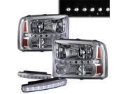 2000-2004 Ford Excursion L.E.D Headlights Lamps + 8 Led Fog Bumper Light